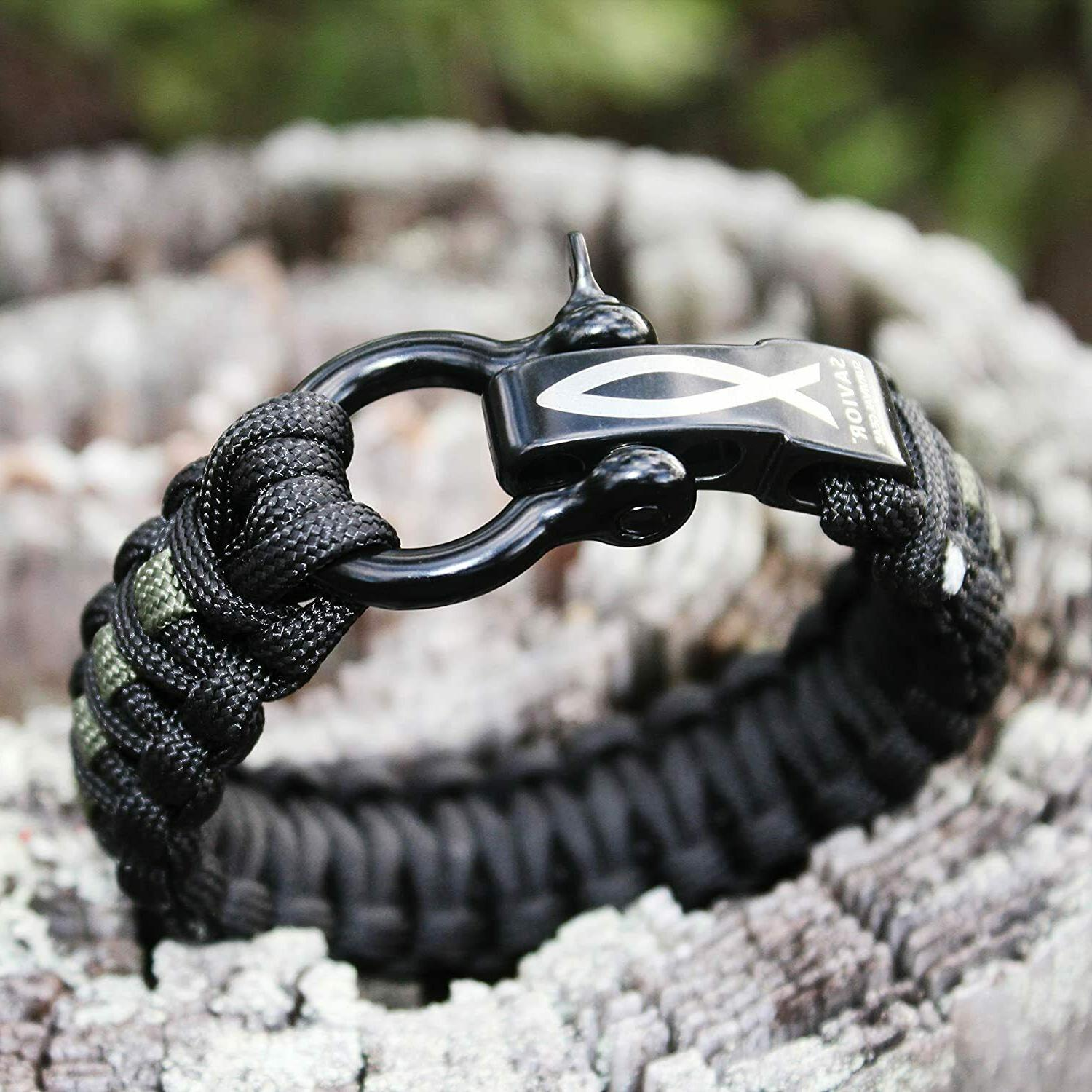 Savior Survival Gear Paracord Bracelet with Stainless Steel