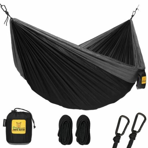Wise Owl Outfitters Single 1-Person Camping Hammock Black &