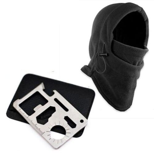 Stock Outdoor Survival Knife Card+Winter Ski Mask Beanie Camping Gear