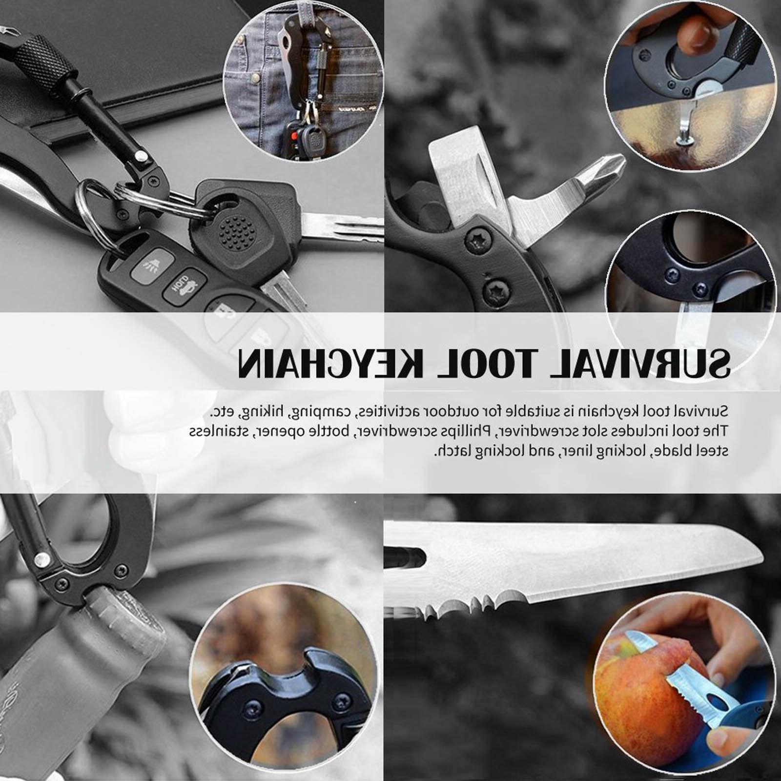 Survival EDC Gear Carabiner Keychain Holder B