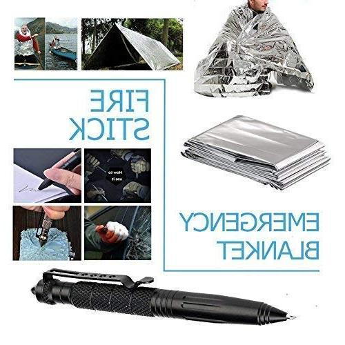 Survival Gear in Outdoor SOS Survive Tool Wilderness/Trip/Cars/Hiking/Camping gear Saw, Flashlight, Tactical Pen, Water Clip ect,