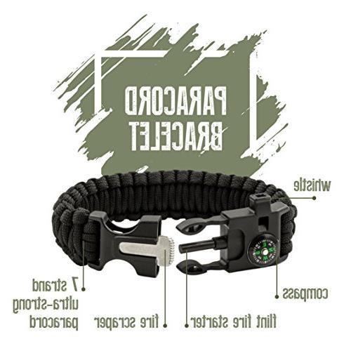 Survival Gear – Essential w/Compass, Whistle, Flashlight, Pen, Bracelet Blanket – Camping Tools for Men Women