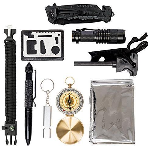 Survival – Survival Kit w/Compass, Whistle, Flashlight, Bracelet Camping Gear, Hunting Women
