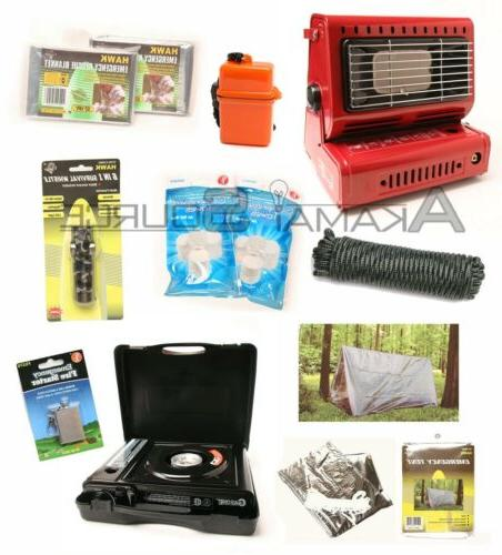 survival kit emergency camping gear butane stove
