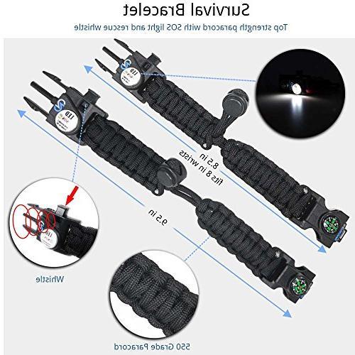 Nexfinity One Bracelet Emergency Gear with LED Knife, Grade, Multitools, Fire Starter, -