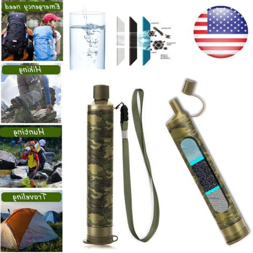 2 Pack Personal Water Filter Straw Purifier Survival Camping