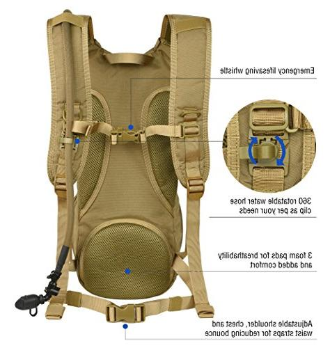 MARCHWAY Molle Hydration Pack Backpack with TPU Daypack for Cycling, Running, Climbing,