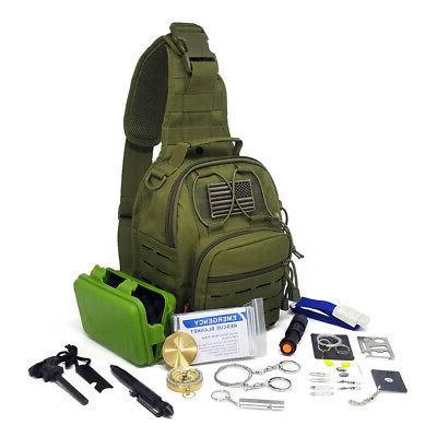 Tactical Sling Bag Survival Kit & Tools Camping