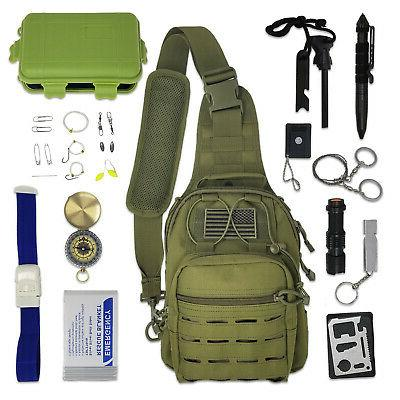 tactical sling bag survival kit with emergency
