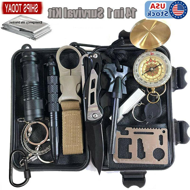tactical survival gear kit 14 in 1