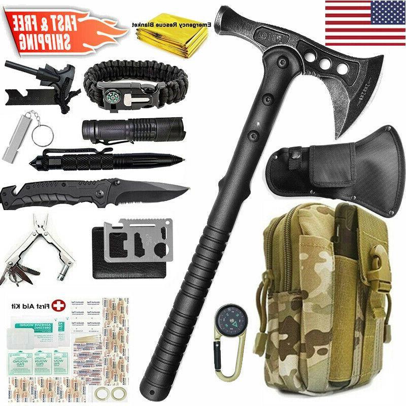 tactical survival throwing tomahawk axe hatchet kit