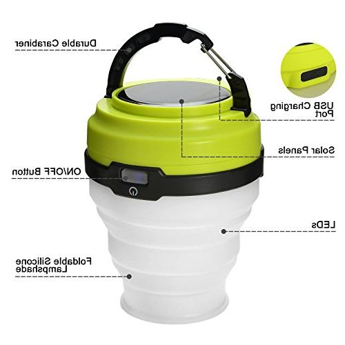 Odoland USB Rechargeable Solar Lantern, Modes LED Lantern Emergency Light, Ultra Tent Portable Camping Gear for Hiking Emergencies Outages