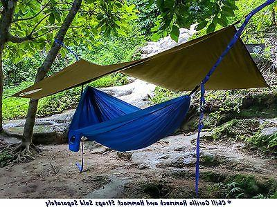 CHILL GORILLA HEX HAMMOCK RAIN FLY Waterproof Camping Essential Survival Stakes Included. Lightweight. Easy setup. RIPSTOP Nylon. Coyote Sand