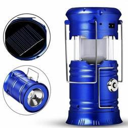 LED Camping Lantern Flashlights Collapsible Solar Tent Light