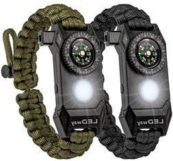 A2S Protection LEDway Paracord Bracelet Survival Gear Kit -