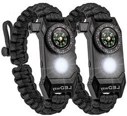 LEDway Paracord Bracelet Tactical Survival Gear Kit 6-IN-1-