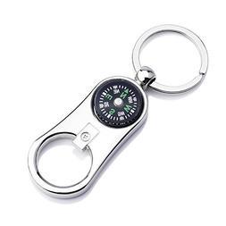 Ezyoutdoor Metal Crafts Compass Keychain with Bottle Opener