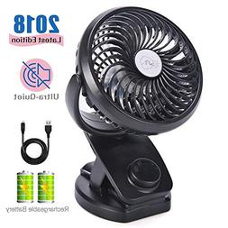 Mini Fan with Clip 4400mAh Rechargeable Battery Operated USB