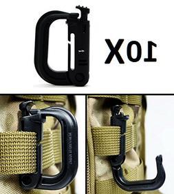 Ultimate Arms Gear 10 Pack Multipurpose Carabiner D-Ring Gri