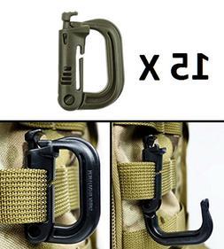 Ultimate Arms Gear 15 Pack Multipurpose Carabiner D-Ring Gri
