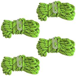 4pc Neon Guy Line Rope Set with Glow-in-the-Dark Slides for