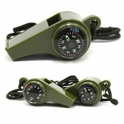 New 3 in1 Emergency Survival Gear Camping Hiking Whistle Com