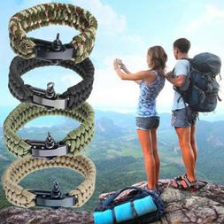 New Survival Tactical Bracelet Outdoor Paracord Scraper Camp