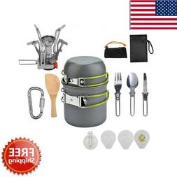 Outdoor Camping Cookware Stove Hiking Backpacking Gear Set C