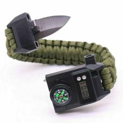 Outdoor Camping Survival Emergency Gear Paracord Knife Compa