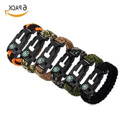 Masterboxan 6 Pack Paracord Bracelet Kit Outdoor Survival Br