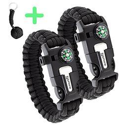 Paracord Bracelet Survival Kit | Black 550 Parachute Cord |