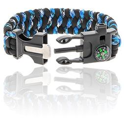Paracord Bracelet | With Compass, Whistle, Flint Fire Starte
