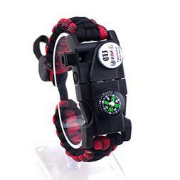 Dreamyth New Paracord Survival Bracelet Camping Compass Flin