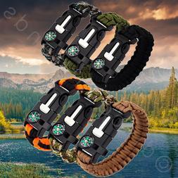 Paracord Survival Bracelet Compass/Flint/Fire Starter/Whistl
