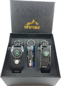 Kopwin Paracord Survival Bracelet Set - Bonus Keychain Multi