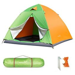 HollyHOME 3-4 Person Family Backpacking Tent for Camping wit