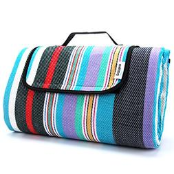 "Extra Large Picnic Blanket Waterproof 79"" x 79"" with Tote, C"