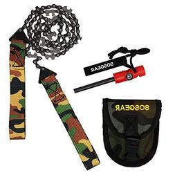 SOS Gear Pocket Chainsaw and Fire Starter - Survival Kit wit