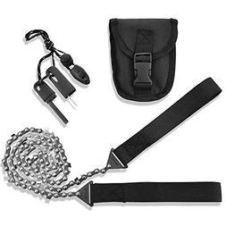 Pocket Chainsaw Firestarter Magnesium Fire Rod Camping Gear