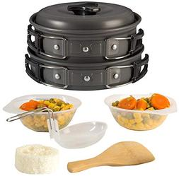 Portable Camping Cookware Mess Kit, Non-Stick Aluminum Campi
