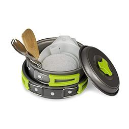 Camping Cookware Mess Kit Set for Backpacking and Hiking - L