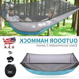 Portable Double Hammock with Mosquito Net Outdoor Camping Tr