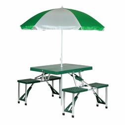 portable folding picnic table and umbrella combo