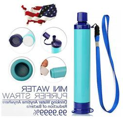 Portable Water Filter Straw Purifier Camping Emergency Gear