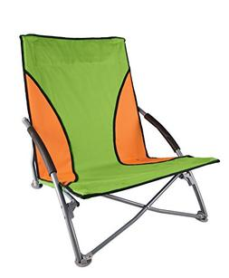 Stansport Low-Profile Fold-Up Chair, Lime/Orange