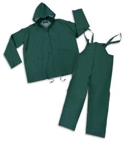 Stansport PVC Rainsuit, Cloth Back, Green