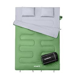 KingCamp Queen Size Sleeping Bag 26 F/-3C 2 Pillows Compress