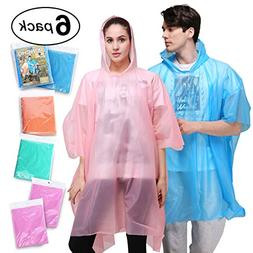 Rain Poncho for Adults - 6 Pack of PEVA Tear Resistant Thick