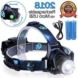 Rechargeable Headlamp, Hard Hat Light – Adults LED Headlam