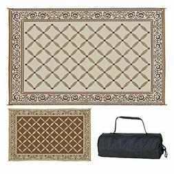 RV Camping Patio Deck Brown/Beige Reversible 6 x 9 Mat Outdo